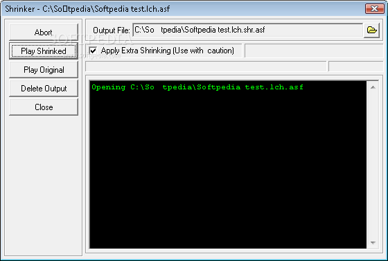 Setting the output path in the shrinker